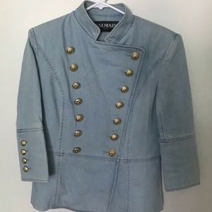 Balmain Womens Denim Double Breasted Blazer Jacket